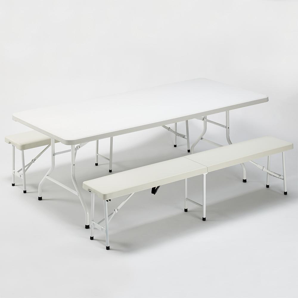 Set tavolo rettangolare 200x90 e 2 panche per feste campeggio giardino SANFORD