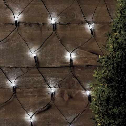 RE050COL - Rete luci di Natale esterno decorativa 50 led energia solare batteria lunga durata pannello - blu