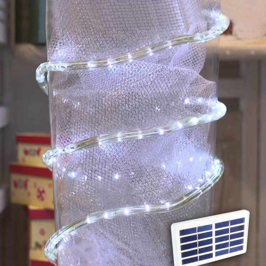 Tubo luminoso luce led di natale a energia solare per esterni giardino - Luci ad energia solare per giardino ...