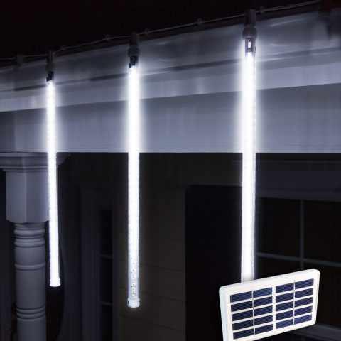 SF096LED - Luci di Natale esterno led energia solare batteria lunga durata pannello 4 ghiaccioli - particolare