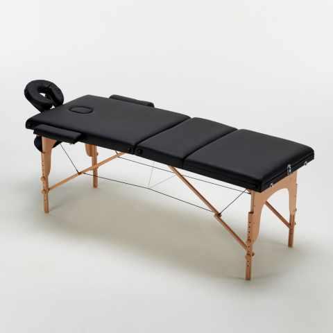 lettino da massaggio grande pieghevole nero