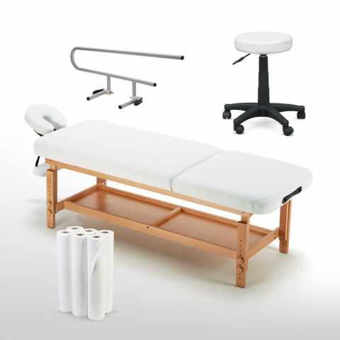 set massaggio lettino sgabello bianchi