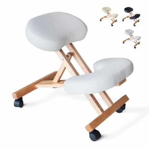 PN100LEG - Sedia legno ortopedica sgabello svedese ufficio ergonomica schiena BALANCEWOOD - colorato