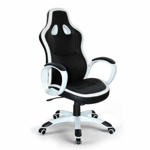 SU035RAC - Poltrona racing sedia ufficio sportiva gaming ecopelle ergonomica SUPER SPORT - marrone