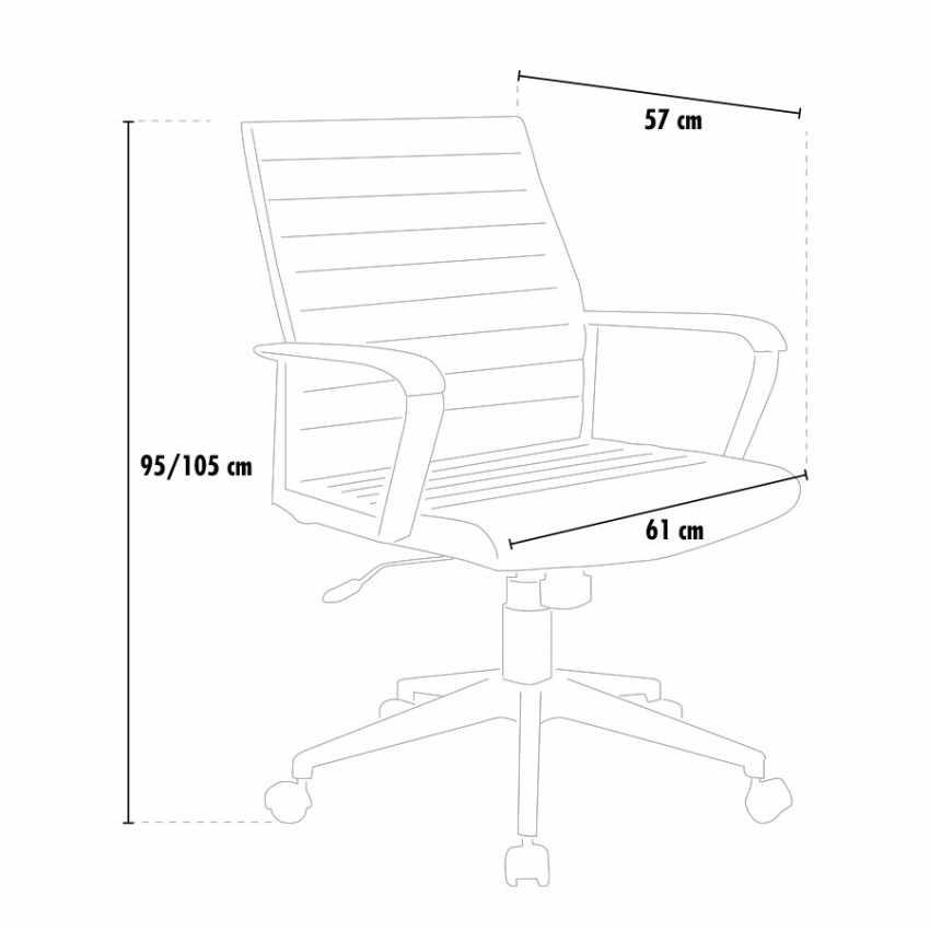 poltrona ergonomica da ufficio con braccioli in ecopelle misure