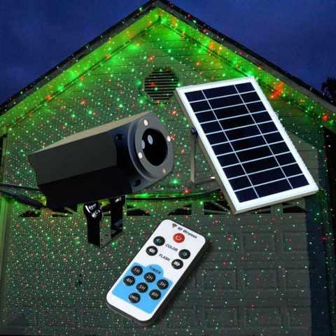 LL019COL - Proiettore Luce Laser Led Natale Facciata CHRISTMAS con Pannello Solare - offerta