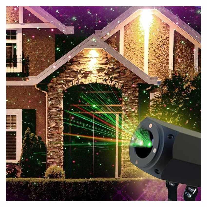 LL019COL - Proiettore Luce Laser Led Natale Facciata CHRISTMAS con Pannello Solare - scontato
