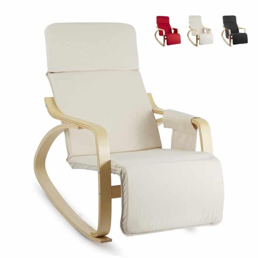 Sedia a dondolo regolabile in legno relax ergonomica - Sedia a dondolo prezzi ...