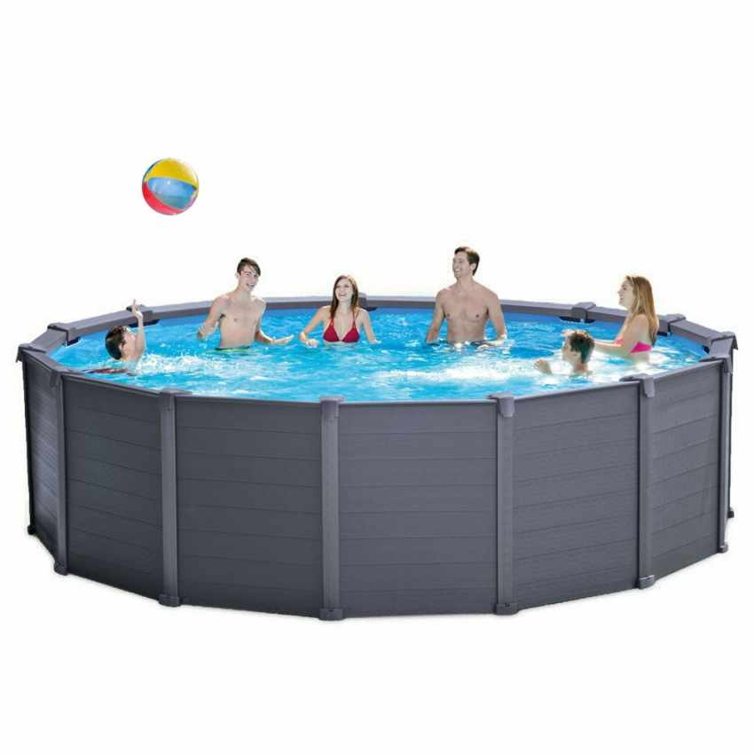 Piscina fuori terra rotonda 478x124 intex 26382 graphite for Piscina intex rotonda