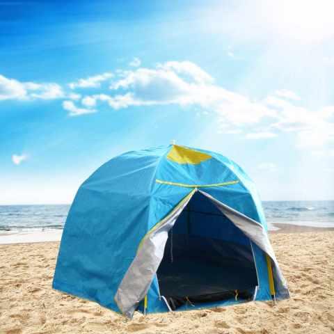 tenda da spiaggia 2 posti mare parasole campeggio camping protezione uv antivento azzurro