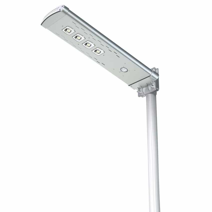 LS050LED - Lampione stradale solare Led 3000 Lumen con Telecomando SMART OPTIUM - marrone