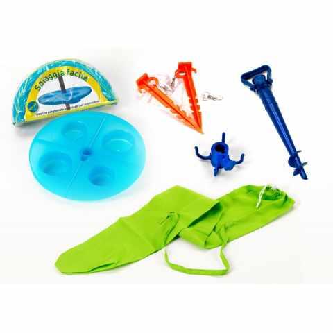 AC003FAC - Kit accessori mare punta ombrellone sacca tavolino SPIAGGIA FACILE - crema