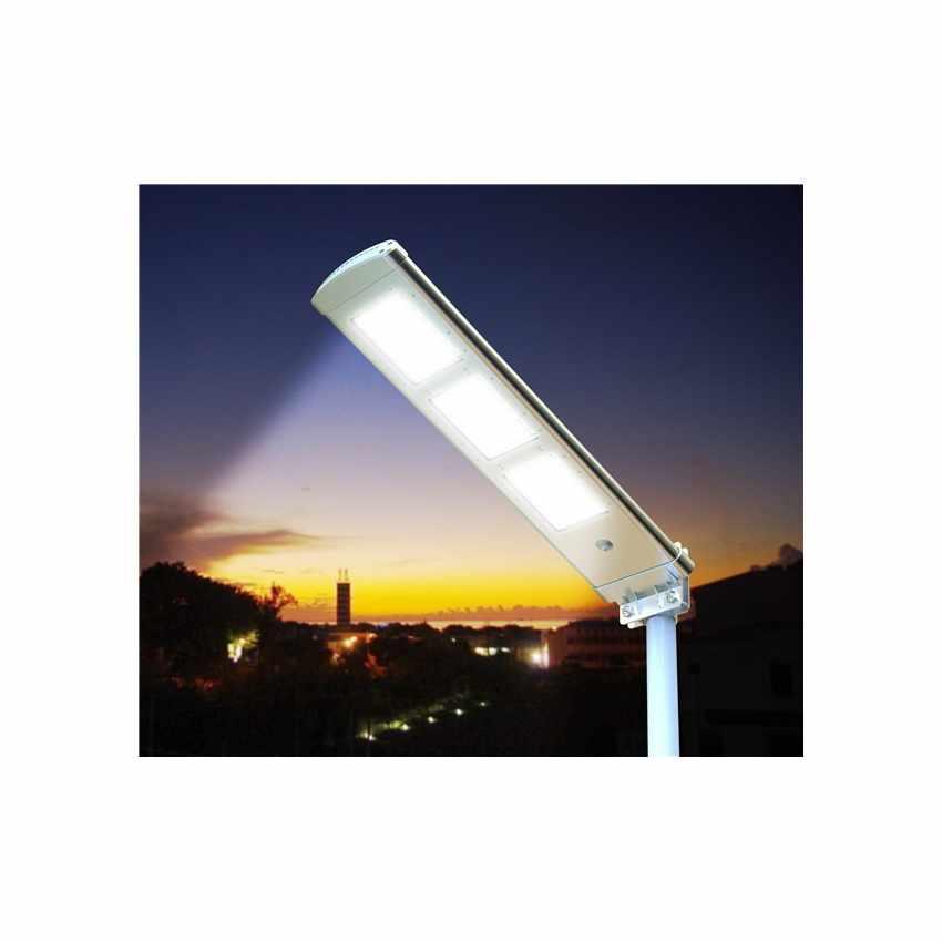 LS072LED - Lampione stradale a Led 3000 Lumen con pannello solare giardino parcheggio e strada HIGHWAY - beige