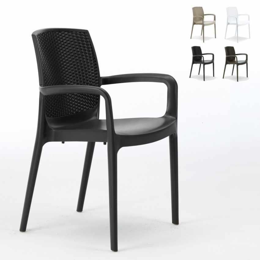 Sedia da giardino con braccioli in polyrattan per bar for Grand soleil sedie