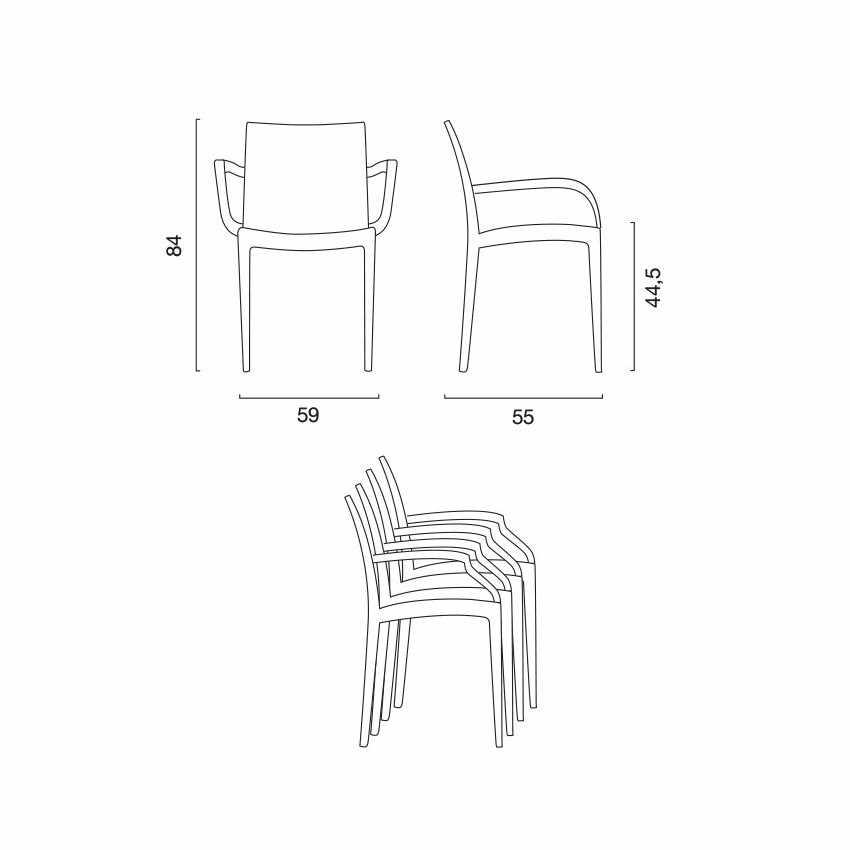 sedia da giardino con braccioli in polipropilene da esterni misure