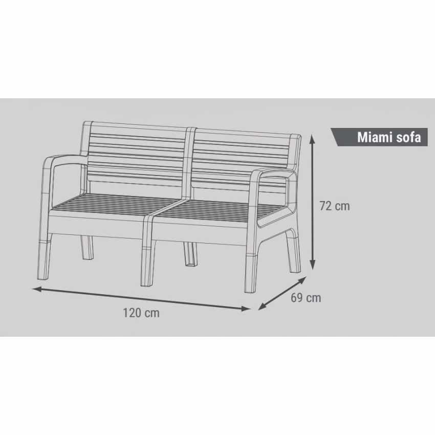 55258 - Salotto giardino resina bar tavolino 4 posti schienale rialzato MIAMI - basso costo