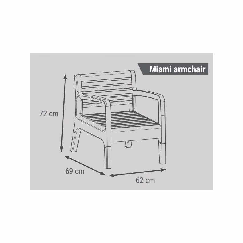 55258 - Salotto giardino resina bar tavolino 4 posti schienale rialzato MIAMI - nero