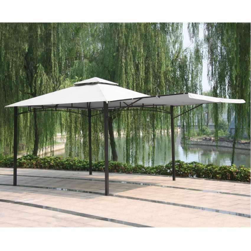 AN330POL - Gazebo 3,3x3,3 metri giardino bar veranda mercato pagoda ANTIGUA - nero