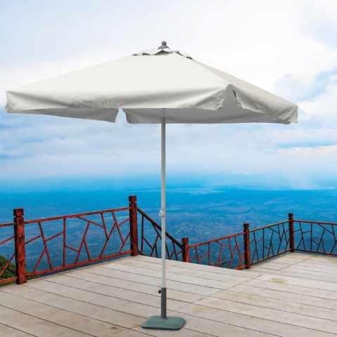 PL200UFR - Ombrellone giardino 2x2 alluminio quadrato palo centrale bar hotel PLUTONE - azzurro
