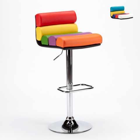 SGA800LNG - Sgabello Sale Giochi Pub e Birrerie Colorato in Similpelle Design LONG BEACH - offerta