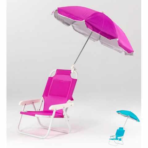 HA100UVAA - Sedia mare bambini seggiola spiaggia ombrellino protezione uv - nero