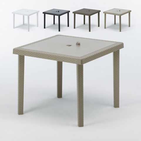 tavolino quadrato in polyrattan per esterni beige