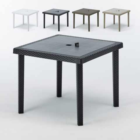 S709012PZ - Tavoli bar Polyrattan quadrati 90x90 Grand Soleil BOHEME stock 12 pezzi - particolare