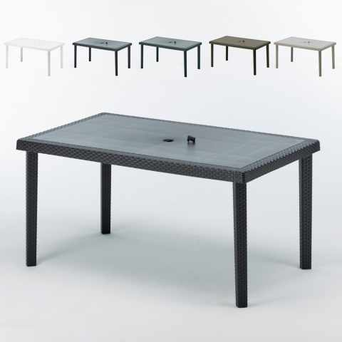 tavolo da giardino esterni bar in polyrattan nero