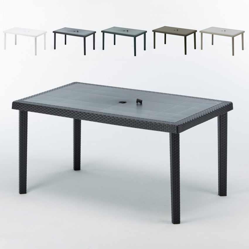 S7050J12PZ - Tavoli Polyrattan rettangolari 150x90 Grand Soleil BOHEME offerta stock 12 pezzi - trasparente