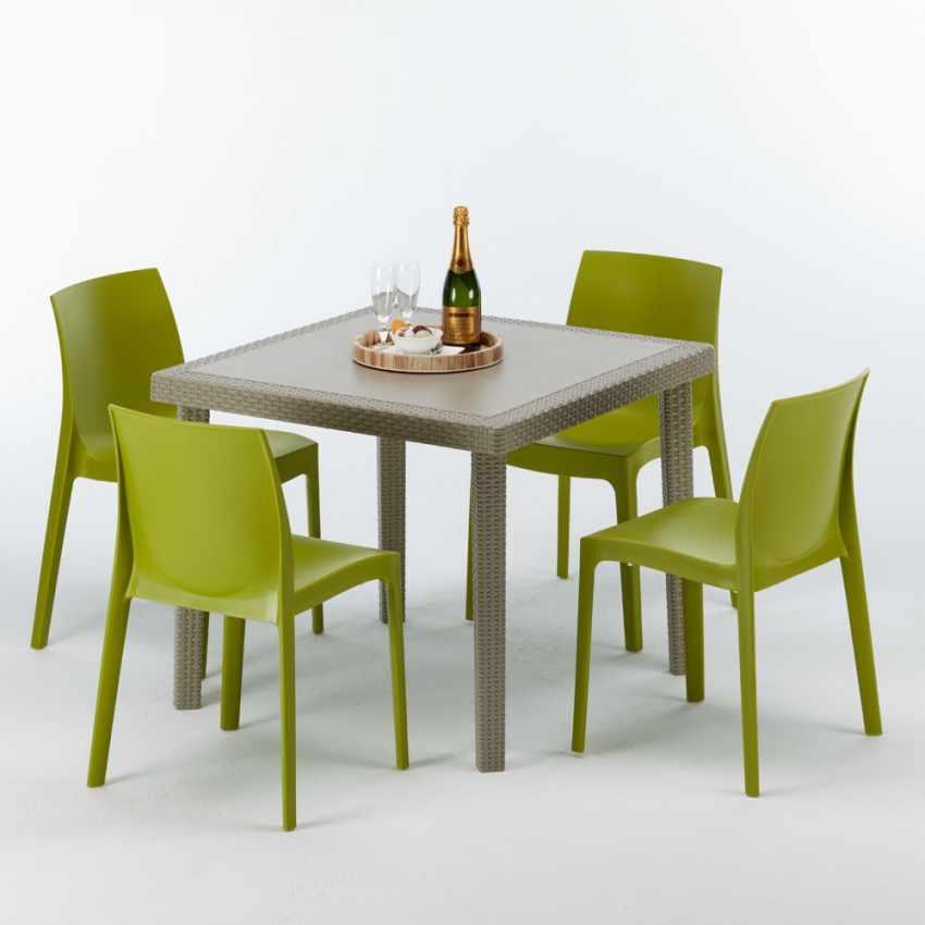 Tavolo quadrato + 4 sedie rattan sintetico Polyrattan colorate 90x90 beige ELEGANCE - foto