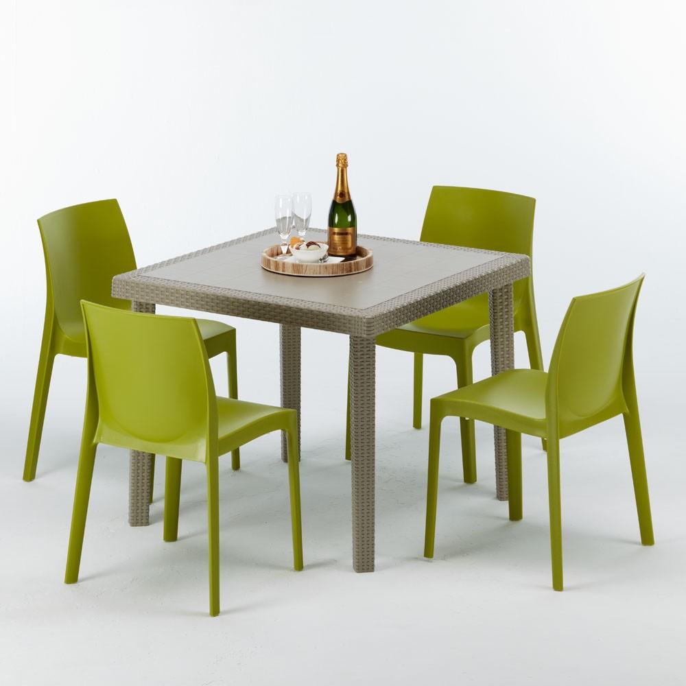 Tavolo In Plastica Con Sedie.Tavolo Quadrato Con 4 Sedie Rattan Polyrattan 90x90 Beige Elegance
