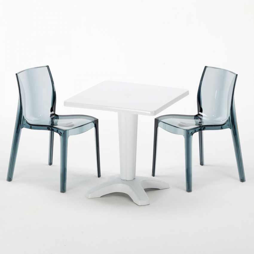 Set Esterni: Tavolino Quadrato 2 Sedie da Esterni Colorate Made in Italy CAFFÈ - offerta