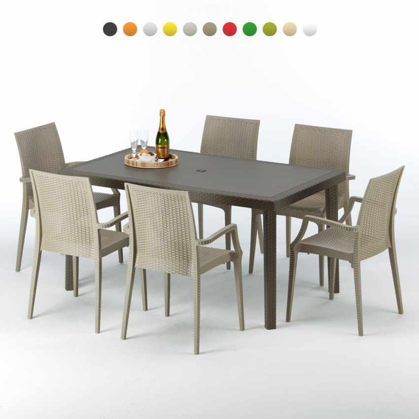 Tavolo rettangolare 6 sedie rattan sintetico giardino colorate 150x90 marrone FOCUS - promo