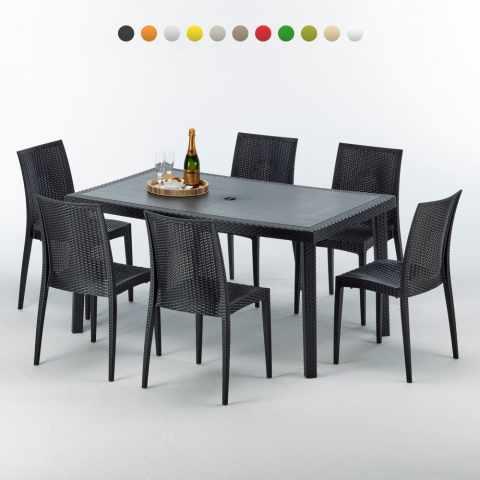 S7050SETA6 - Tavolo rettangolare con 6 sedie rattan sintetico Polyrattan colorate 150x90 ENJOY - trasparente