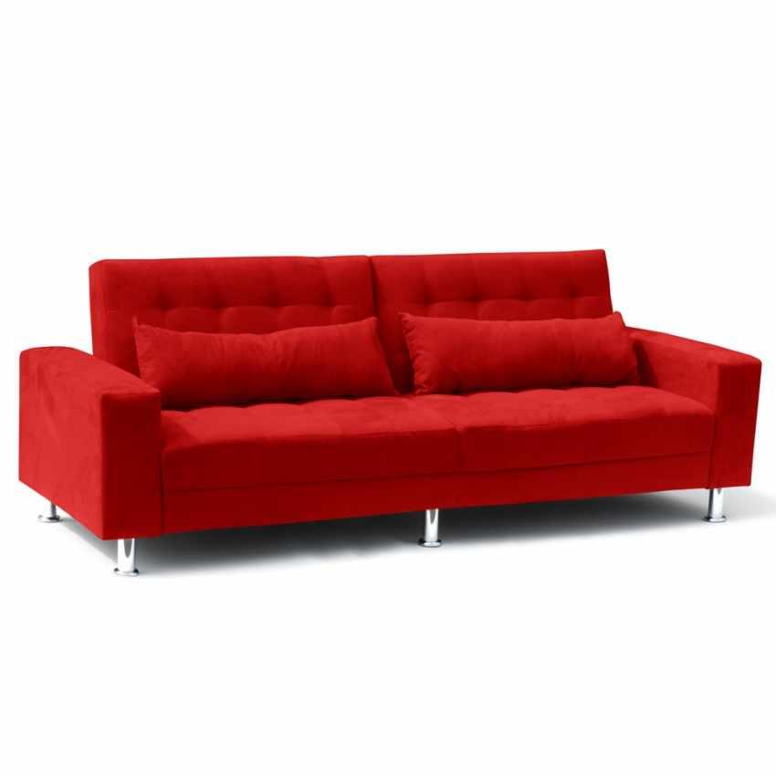 Divano letto 2 3 posti con cuscini schienale reclinabile quarzo - Divano letto 3 posti ...