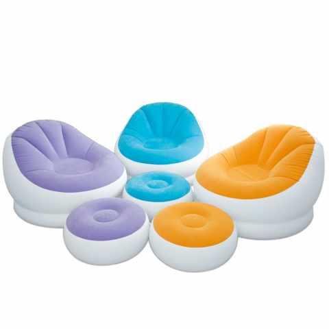 68572 - Poltrona puffo poggiapiedi gonfiabile Intex 68572 salotti e soggiorni - azzurro