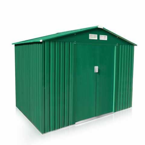 CL257LAM - Box in lamiera zincata verde casetta giardino attrezzi ripostiglio LARGE - trasparente