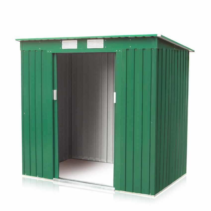 Casetta box in lamiera zincata verde per attrezzi for Box lamiera prezzi