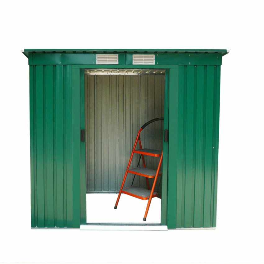 CM194LAM - Box in lamiera zincata verde casetta giardino attrezzi ripostiglio MEDIUM - scontato