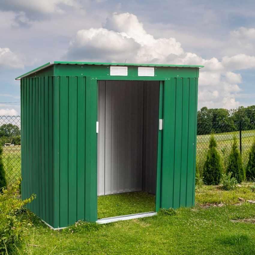 Casetta box in lamiera zincata verde per attrezzi - Box da giardino ...