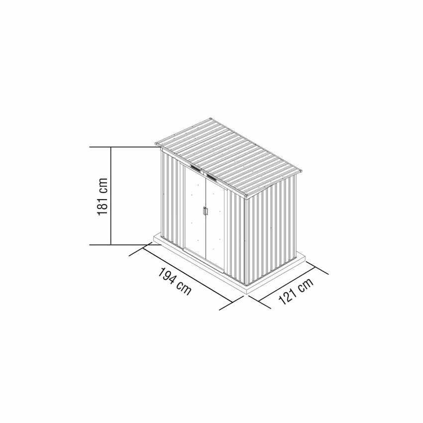 CM194LAM - Box in lamiera zincata verde casetta giardino attrezzi ripostiglio MEDIUM - strisce