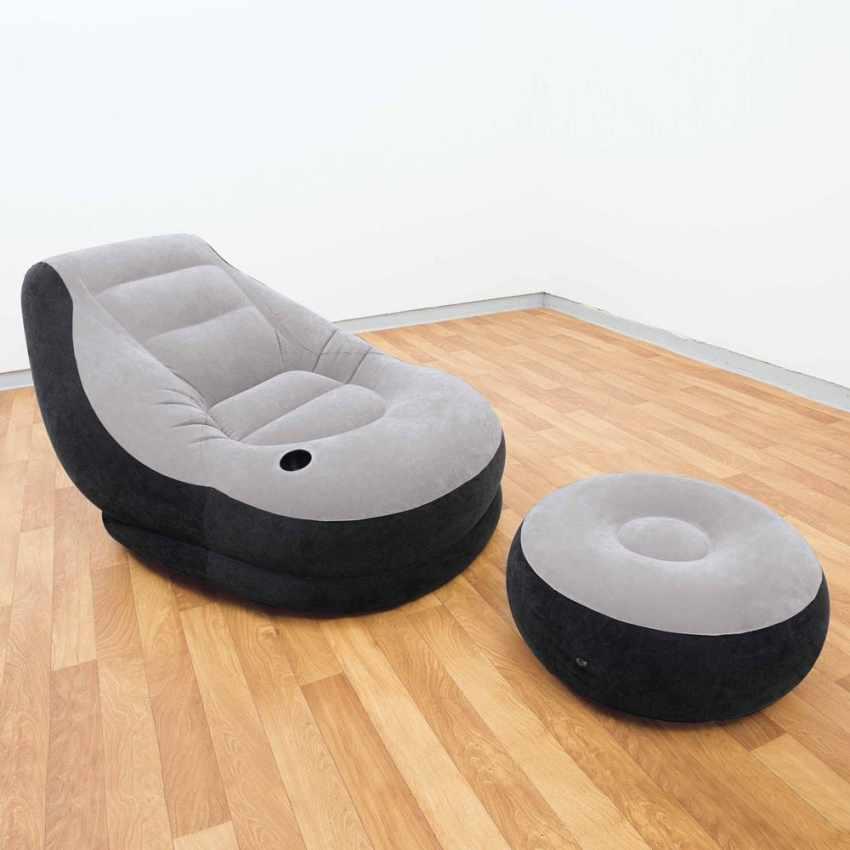 68564 - Poltrona pouf gonfiabile Intex 68564 poggiapiedi portatile lounge - scontato