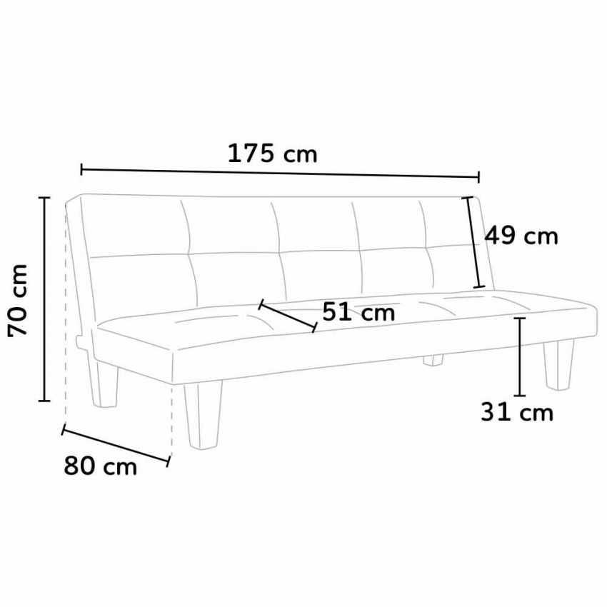 DI1706MI - Divano letto 2 posti microfibra con piedini ONICE per casa e sale d'attesa pronto letto - promozione