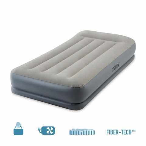 64116 - Materasso Singolo Gonfiabile Intex 64116 in Fiber-Tech con Pompa Integrata - arancione