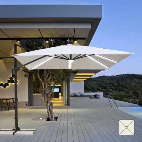 PA303UVL - Ombrellone giardino con Luce Solare LED quadrato 3x3 braccio alluminio PARADISE - outlet