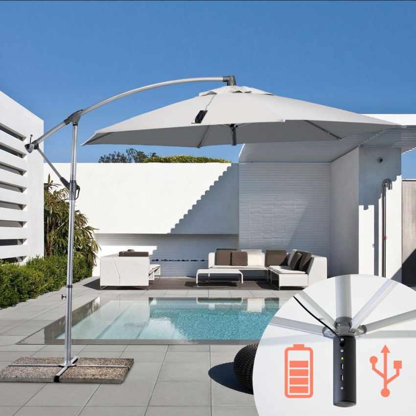 GA300USB - Ombrellone giardino 3x3 braccio caricabatterie usb pannello solare POWER - dettaglio