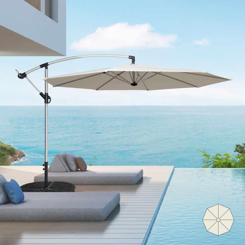 GA300UVA - Ombrellone giardino 3 metri braccio decentrato alluminio ottagonale bar hotel FAN - grigio