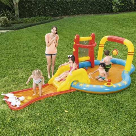 53068 - Piscina Gonfiabile Bestway 53068 per Bambini con Giochi Bersagli Scivolo Birilli - rosa