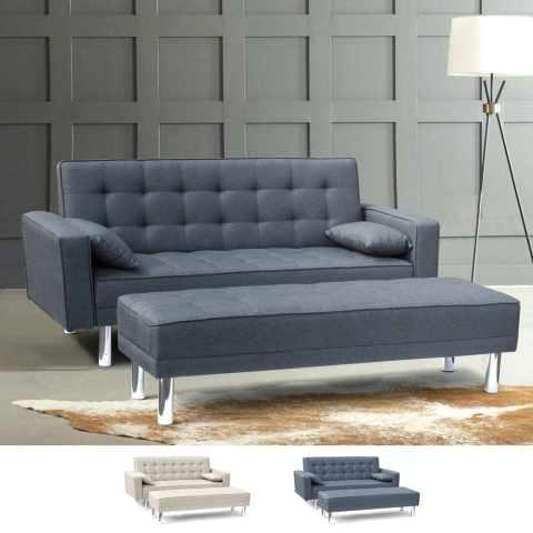 DI1748PUP - Divano letto 2 posti con braccioli pouf poggiapiedi e cuscini AGATA PLUS pronto letto - promozione