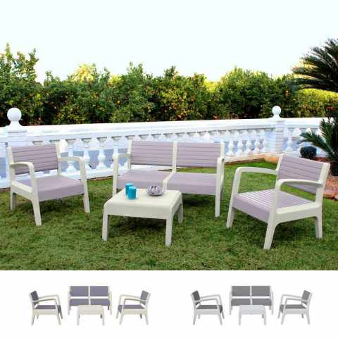 salotto giardino 4 posti tavolino divano poltrona